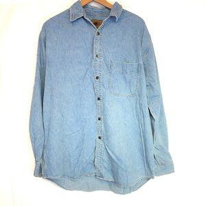 Boston Traders  L 90s med wash denim button shirt